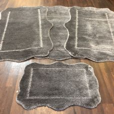 ROMANY WASHABLES NEW CORINA DESIGN SETS OF 4 MATS XL SIZES 100X140CM GREY RUGS
